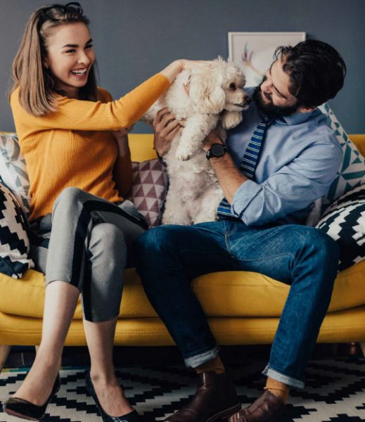 Picture of happy couple with a dog sitting on a gold sofa