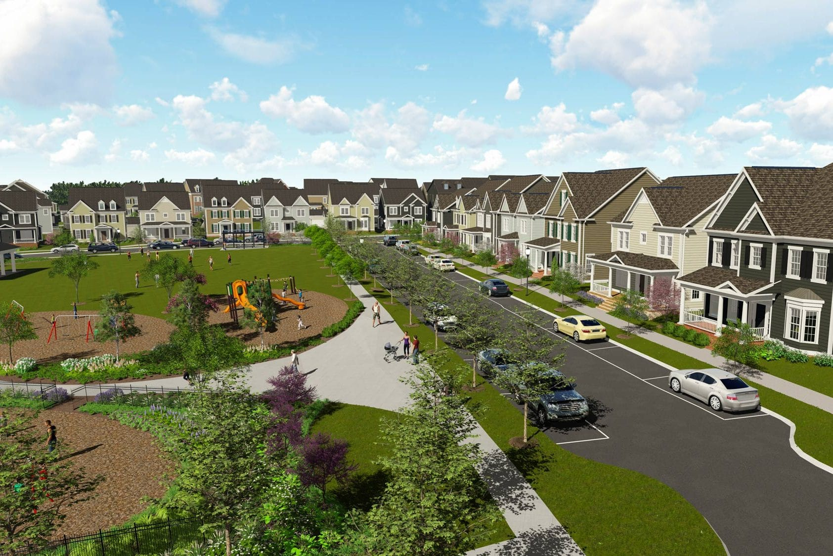 A rendering of the Greenleigh community showing single-family homes surrounding a park with playground and trees
