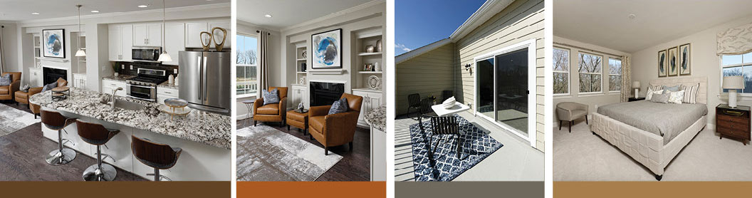 Group of 4 photos showing interior and exterior features of town homes at Annapolis Townes Neal Farm