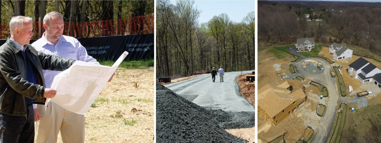 A group of three photos showing two men looking at a site plan, walking down a road under construction, and an overhead view of a community under construction