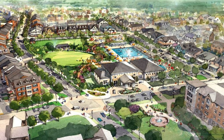 Birds-eye rendering of the Greenleigh community